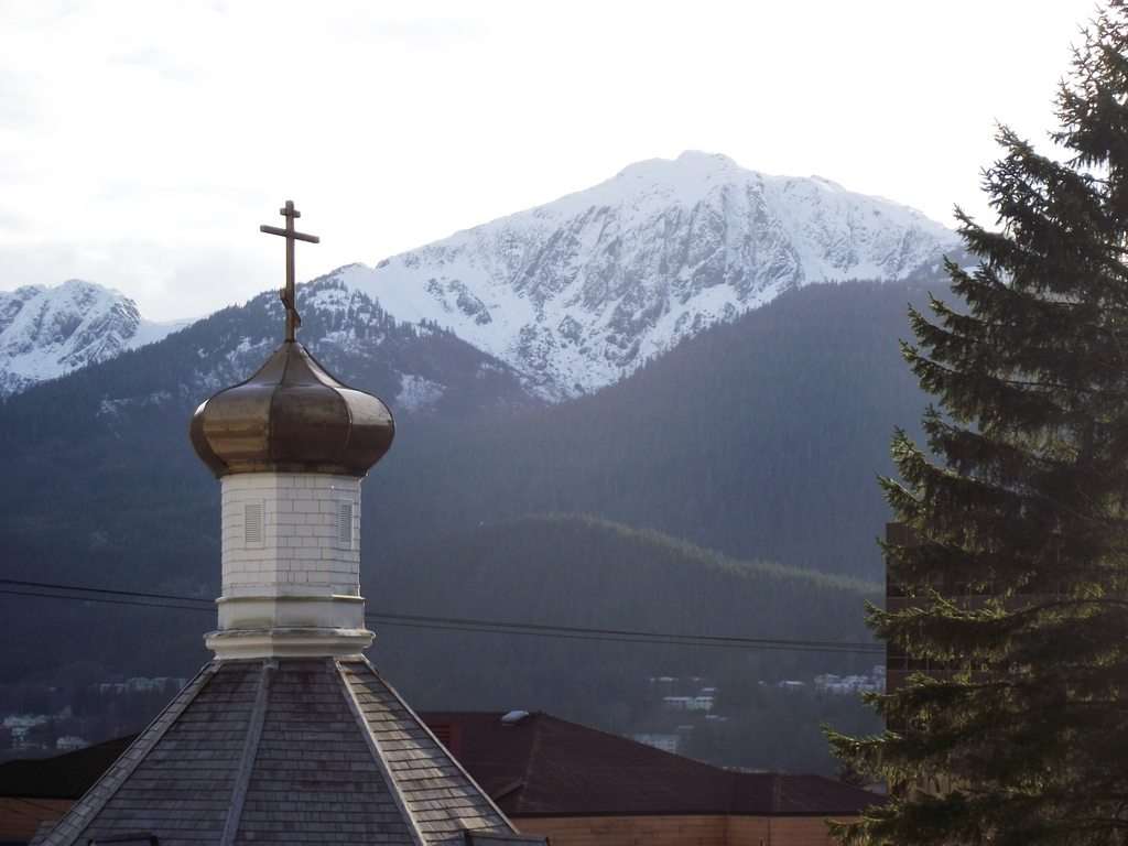 St. Nicholas Russian Orthodox Church (Douglas Island in the background)